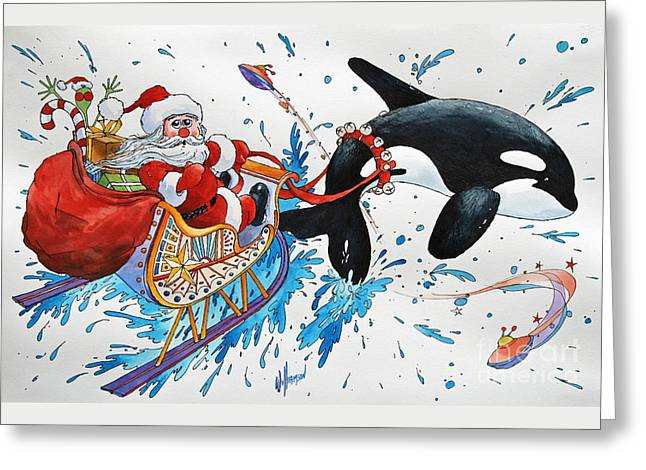 Wales Prints Greeting Cards - Orca Santa Greeting Card by James Williamson