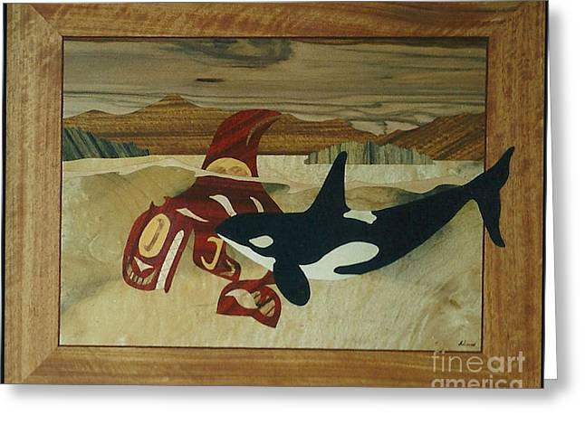 Intarsia Sculptures Greeting Cards - Orca Spirit Greeting Card by Jeff Adshead