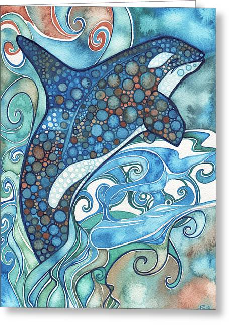 Orange Posters Greeting Cards - Orca Greeting Card by Tamara Phillips