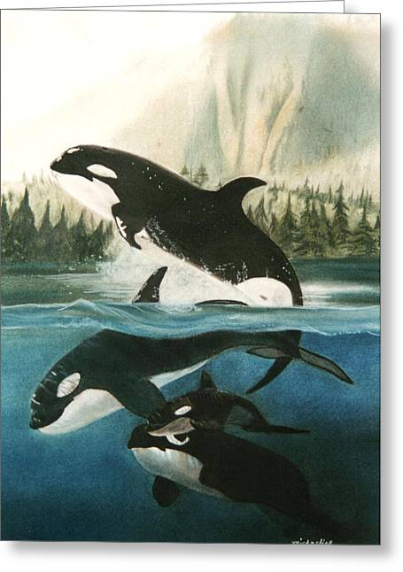 Nautical Pastels Greeting Cards - Orca Tribe Greeting Card by Michaeline McDonald