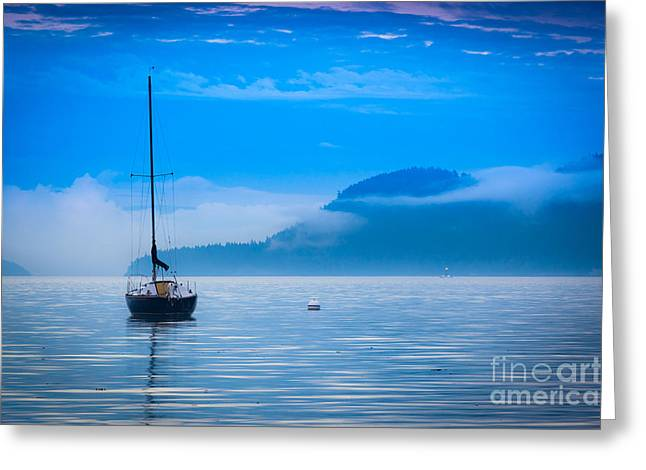 Foggy Landscapes Greeting Cards - Orcas Sailboat Greeting Card by Inge Johnsson