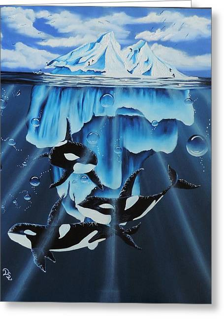 Print On Canvas Greeting Cards - Orcas versus Glacier Greeting Card by Dianna Lewis