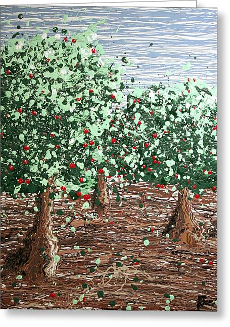 Fruit Tree Art Giclee Greeting Cards - Orchard 4 Greeting Card by Ric Bascobert