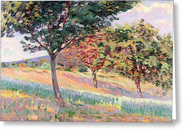 Orchard Greeting Cards - Orchard at St Cheron Greeting Card by Jean Baptiste Armand Guillaumin