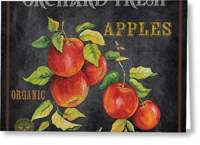 Locally Grown Greeting Cards - Orchard Fresh Apples-JP2638 Greeting Card by Jean Plout