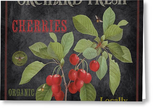 Locally Grown Paintings Greeting Cards - Orchard Fresh Cherries-JP2639 Greeting Card by Jean Plout