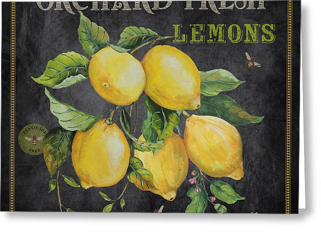 Locally Grown Paintings Greeting Cards - Orchard Fresh Lemons-JP2679 Greeting Card by Jean Plout