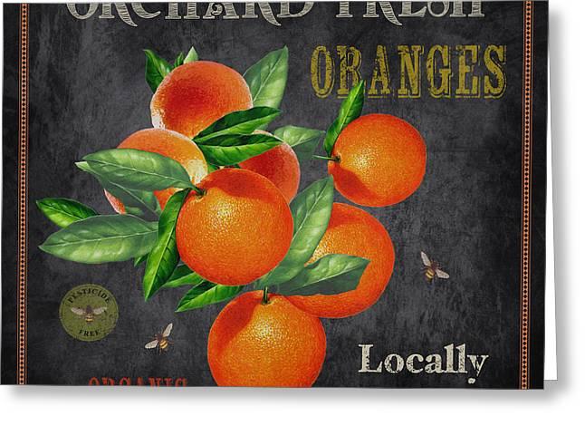 Locally Grown Greeting Cards - Orchard Fresh Oranges-JP2641 Greeting Card by Jean Plout