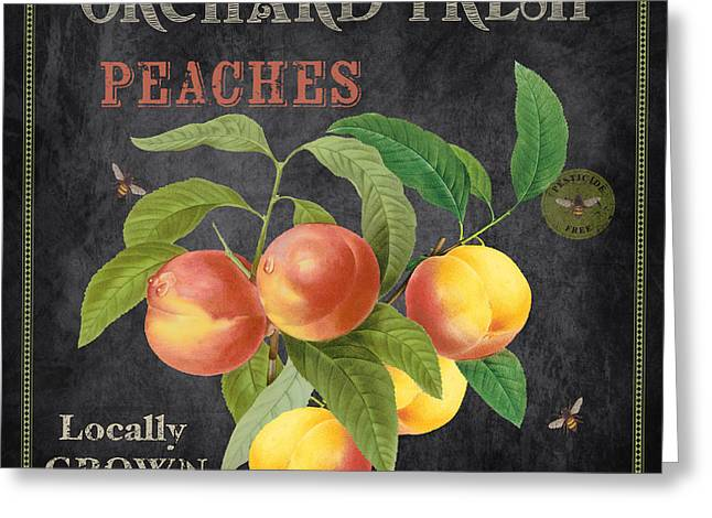Locally Grown Greeting Cards - Orchard Fresh Peaches-JP2640 Greeting Card by Jean Plout