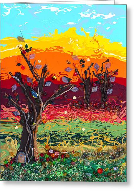 Apple Mixed Media Greeting Cards - Orchard Harvest Greeting Card by Donna Blackhall