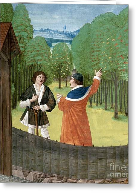 Discussing Photographs Greeting Cards - Orchard Horticulture, 15th Century Greeting Card by British Library