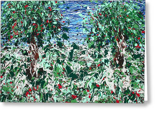 Fruit Tree Art Giclee Greeting Cards - Orchard Number Five Greeting Card by Ric Bascobert