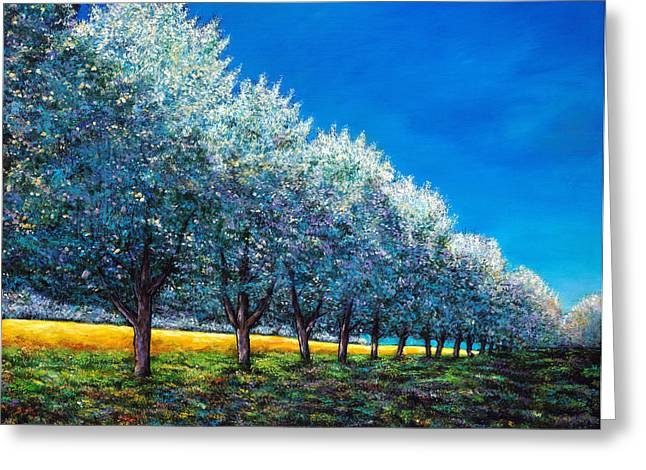 Blooming Paintings Greeting Cards - Orchard Row Greeting Card by Johnathan Harris