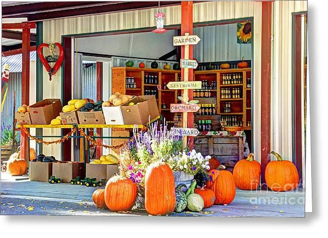 Harvest Time Greeting Cards - Orchard Valley Market Greeting Card by Bob Hislop
