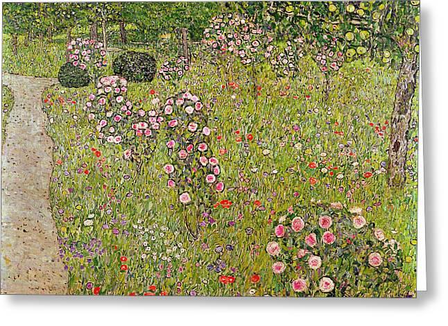 Garden Scene Photographs Greeting Cards - Orchard With Roses Obstgarten Mit Rosen Greeting Card by Gustav Klimt