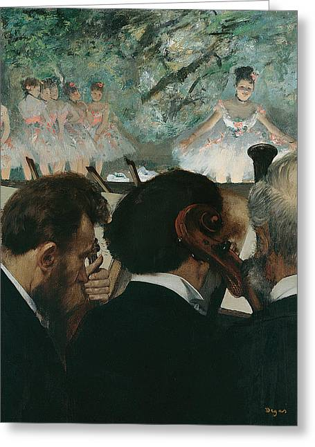 Orchestra Musicians Greeting Card by Edgar Degas