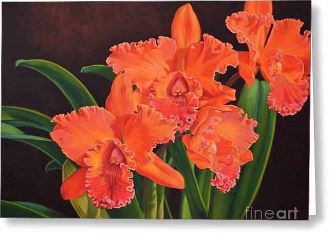 Cattleya Greeting Cards - Orchid Fever 4 Volcano Queen 1 Greeting Card by Fiona Craig