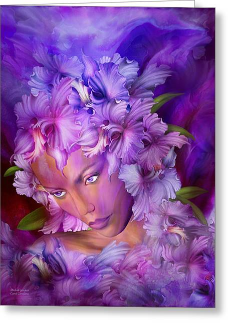 Purple Orchids Greeting Cards - Orchid Goddess Greeting Card by Carol Cavalaris