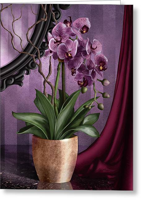 Mirror Reflection Greeting Cards - Orchid I Greeting Card by April Moen