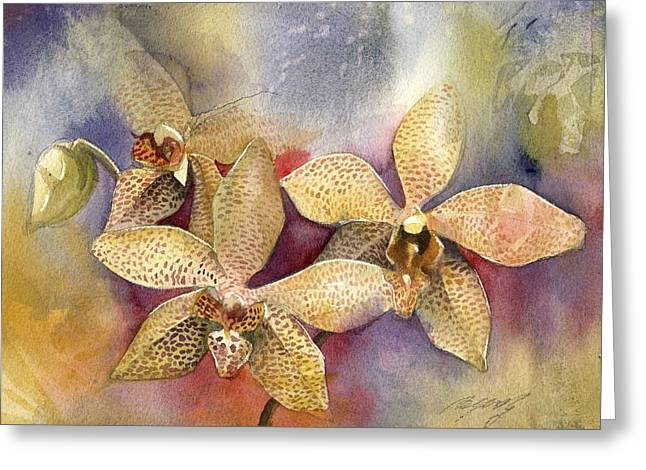 Alfred Ng Watercolor Greeting Cards - Orchid In Yellow Greeting Card by Alfred Ng