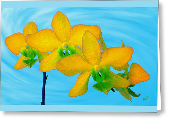 Orchid In Yellow Greeting Card by Ben and Raisa Gertsberg