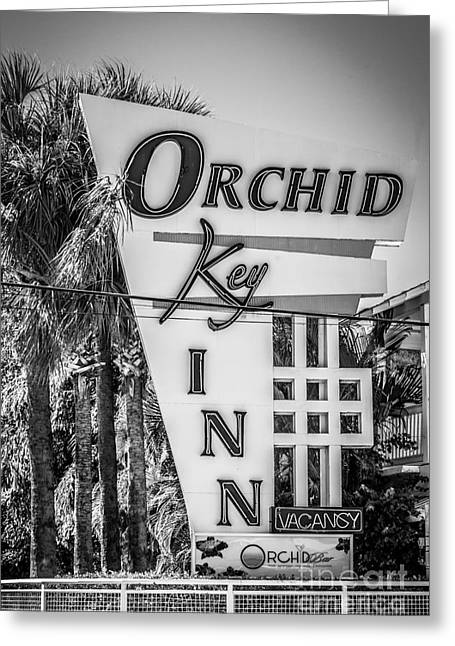 White Orchid Greeting Cards - Orchid Inn Sign Key West - Black and White Greeting Card by Ian Monk