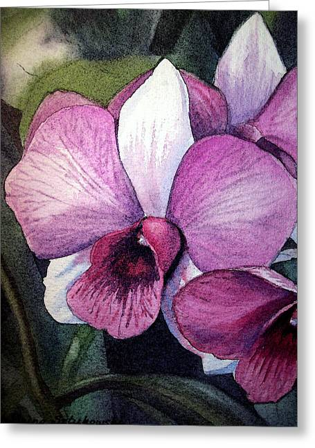 Purple Orchids Greeting Cards - Orchid Greeting Card by Irina Sztukowski