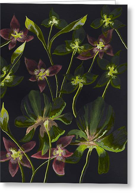Green And Yellow Abstract Greeting Cards - Floral Abstract Reverse Image II    Greeting Card by Linda Brody