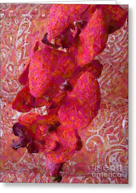 Pretty Orchid On Pink Greeting Cards - Orchid on Fabric Greeting Card by Barbie Corbett-Newmin