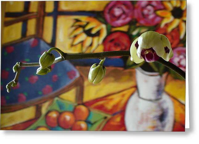 Sanford Greeting Cards - Orchid on Floral Greeting Card by Sanford