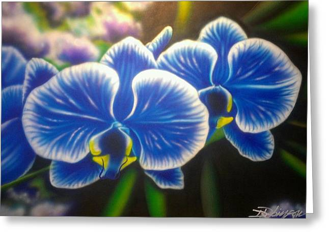 Floral Still Life Greeting Cards - Orchid-Strated Blues Greeting Card by Darren Robinson