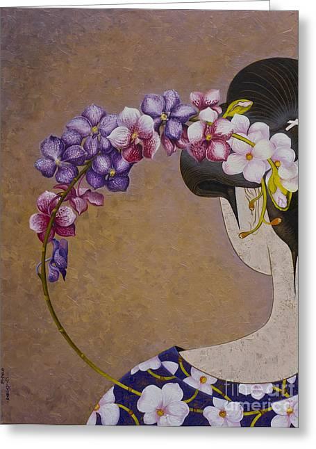 Elegancy Greeting Cards - Orchid Greeting Card by Yuliya Glavnaya