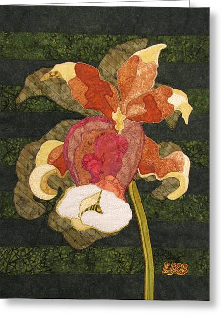 Lynda Boardman Art Tapestries - Textiles Greeting Cards - Orchids #1 Greeting Card by Lynda K Boardman