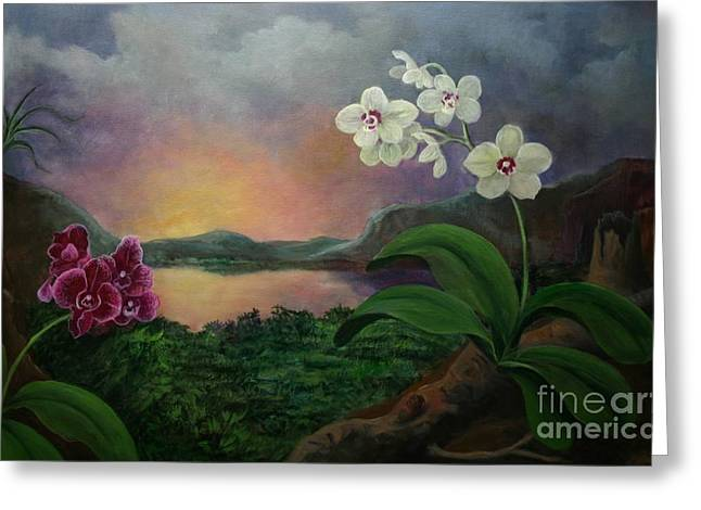 Phalenopsis Greeting Cards - Orchids and Mystery Greeting Card by Randy Burns