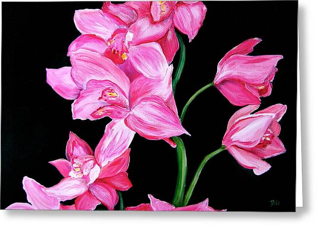 Girlie Greeting Cards - Orchids Greeting Card by Debi Starr