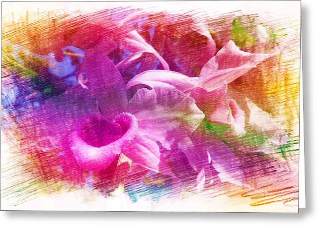 Blooms Greeting Cards - Orchids in Purple Greeting Card by Xueyin Chen