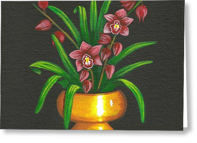 Cyndi Kingsley Greeting Cards - Orchids in Brass Greeting Card by Cyndi Kingsley