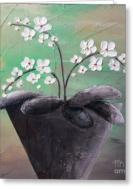Home Art Greeting Cards - Orchids in pot Greeting Card by Home Art