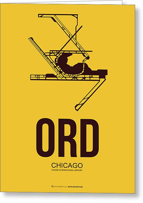 Midwest Greeting Cards - ORD Chicago Airport Poster 1 Greeting Card by Naxart Studio