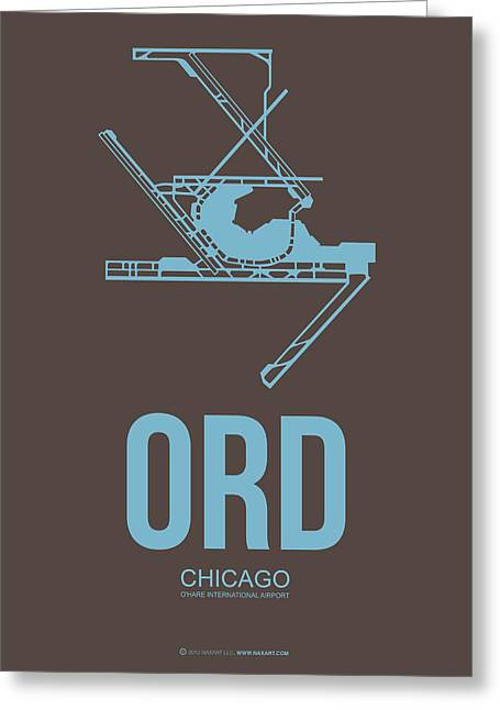 Midwest Greeting Cards - ORD Chicago Airport Poster 2 Greeting Card by Naxart Studio