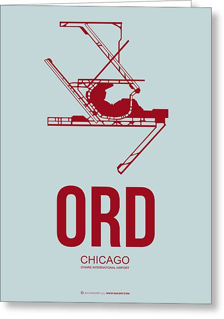 Plane Greeting Cards - ORD Chicago Airport Poster 3 Greeting Card by Naxart Studio
