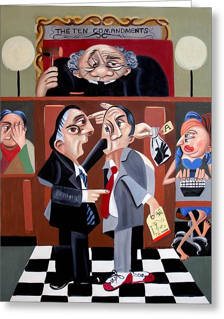Defendant Greeting Cards - Order In The Court Greeting Card by Anthony Falbo