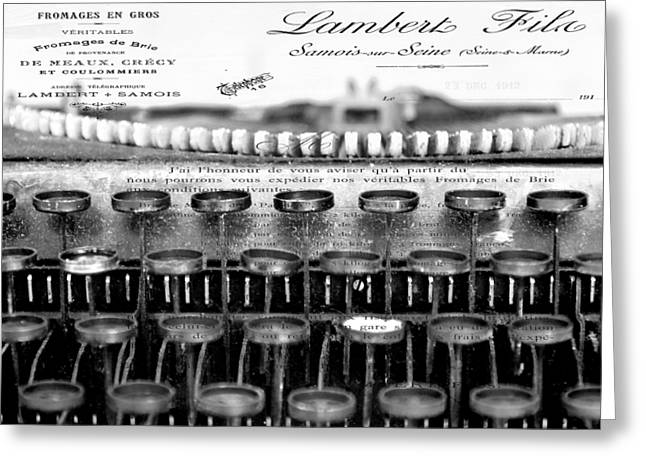 Typewriter Greeting Cards - Ordering Cheese BW Greeting Card by Angelina Vick
