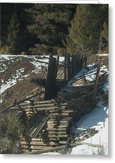 Old Barns Greeting Cards - Ore Bin in Snow Greeting Card by Mark Eisenbeil