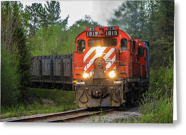 Alco Locomotives Greeting Cards - Red Ore Train on a Curve near Bathurst Greeting Card by Steve Boyko