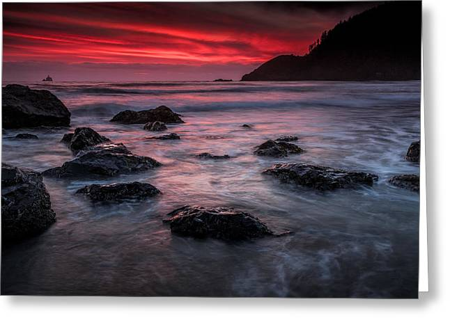Afterglow Greeting Cards - Oregon Afterglow Greeting Card by Rick Berk