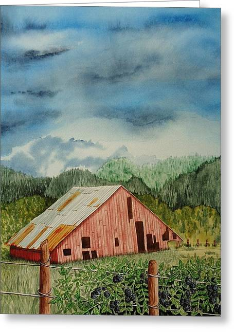 Tin Roof Paintings Greeting Cards - Oregon Barn Greeting Card by Katherine Young-Beck