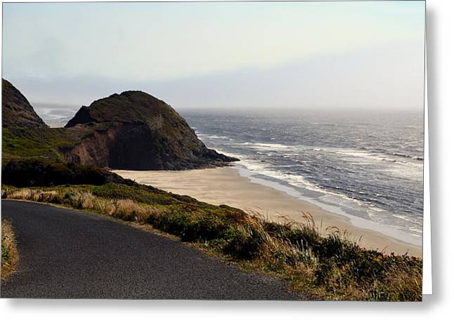 Foggy Beach Greeting Cards - Oregon Coast and Fog Greeting Card by Michelle Calkins
