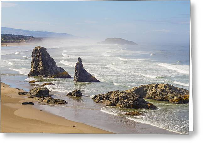 Pacific Tapestries - Textiles Greeting Cards - Oregon Coast - Bandon Greeting Card by Dennis Bucklin