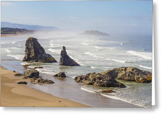 Beach Landscape Tapestries - Textiles Greeting Cards - Oregon Coast - Bandon Greeting Card by Dennis Bucklin